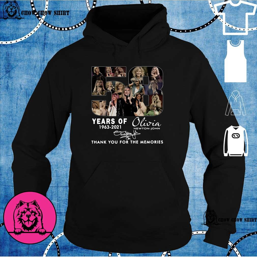 58 Years 1963 2021 Of The Olivia Newton-john Signatures Thank You For The Memories Shirt hoodie