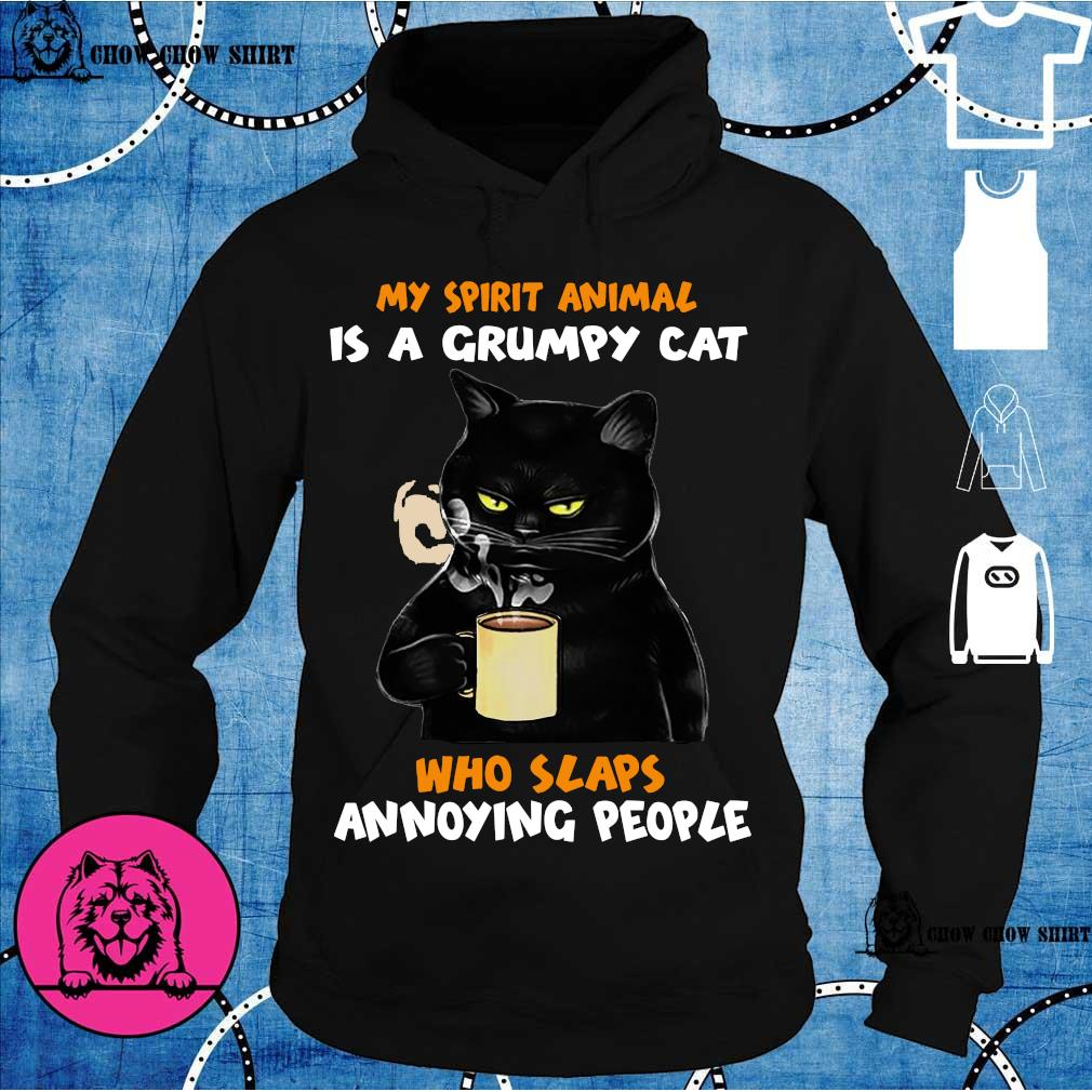 Black cat my spirit animal is a grumpy cat who slaps annoying people hoodie