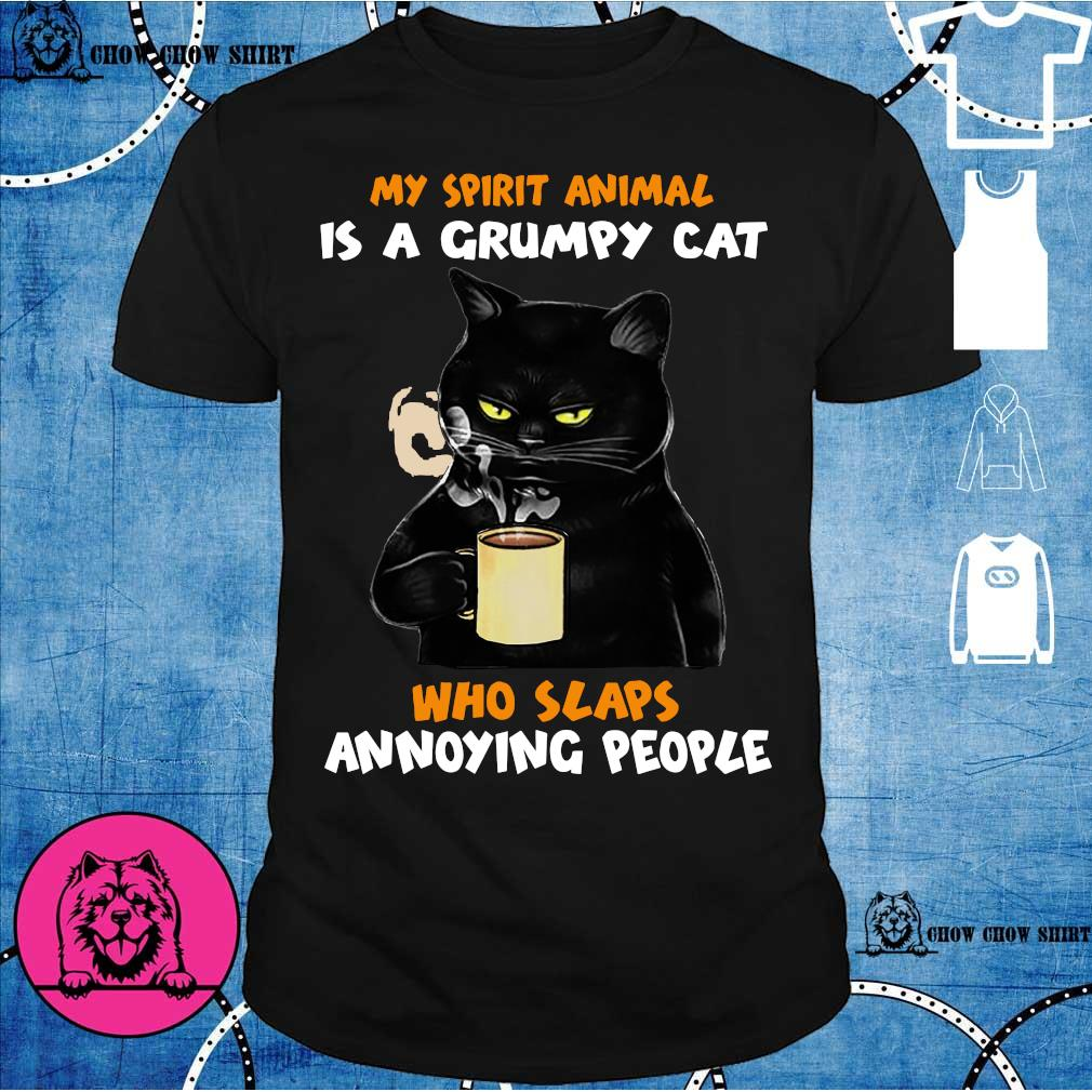 Black cat my spirit animal is a grumpy cat who slaps annoying people shirt