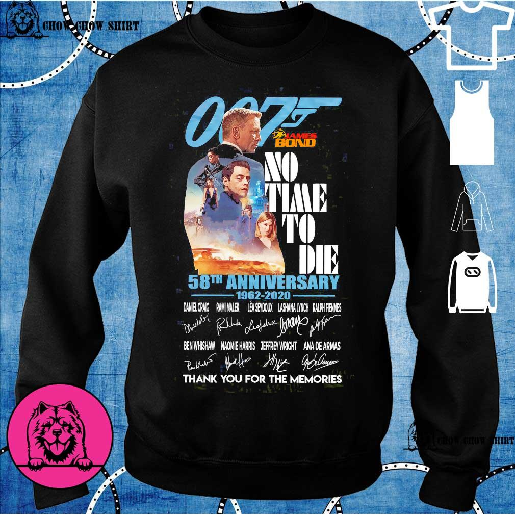 007 James Bond no time to die 58th anniversary 1962 2020 thank You for the memories signatures s sweater