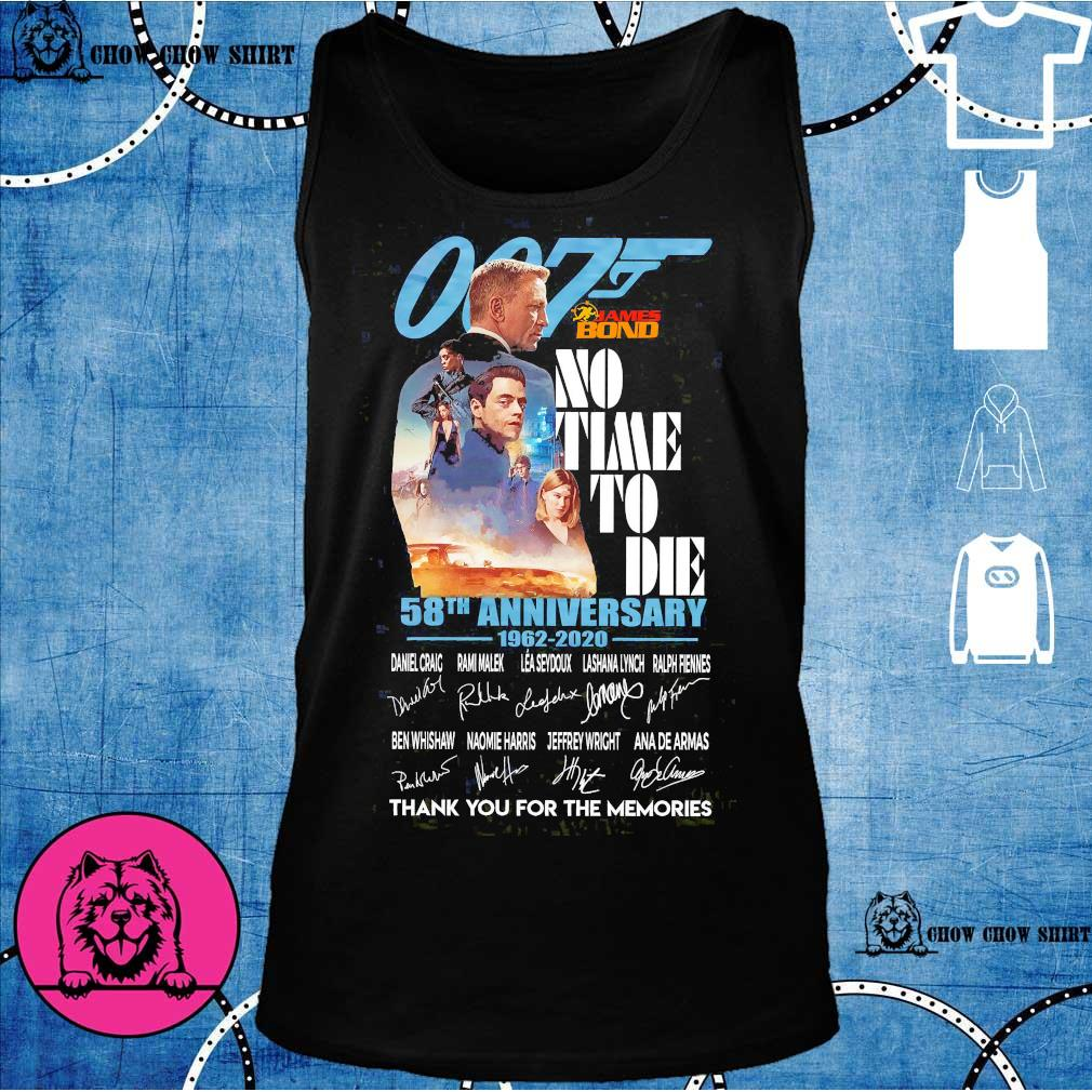 007 James Bond no time to die 58th anniversary 1962 2020 thank You for the memories signatures s tank top