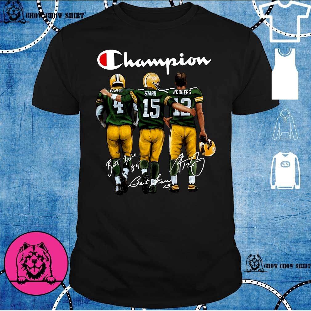 Green Bay Packers Champion Favre Starr Rodgers signatures shirt