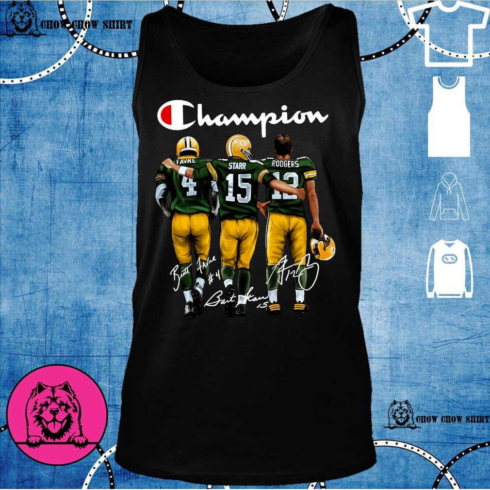 Green Bay Packers Champion Favre Starr Rodgers signatures s tank top